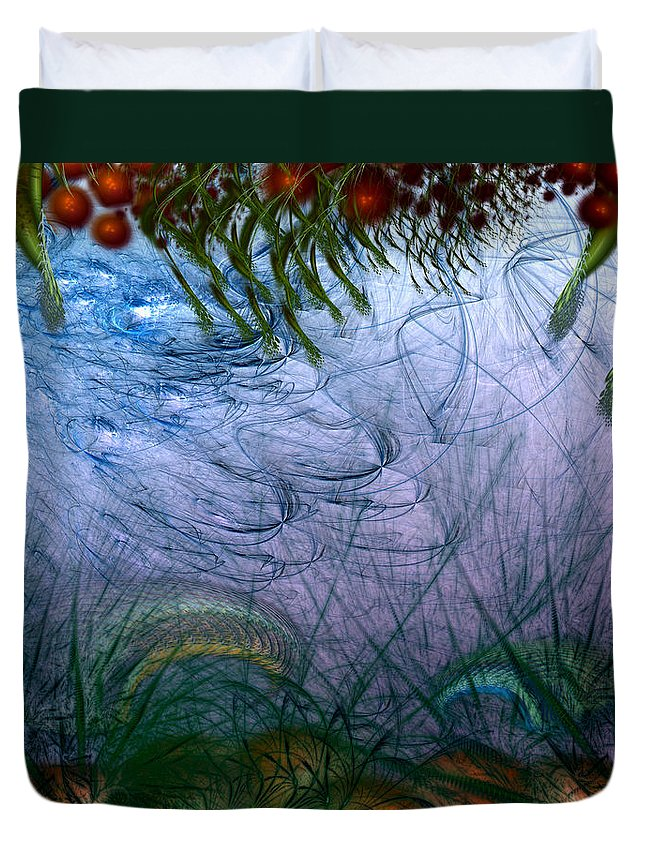 Abstract Duvet Cover featuring the digital art Incursion Into The Inversion by Casey Kotas