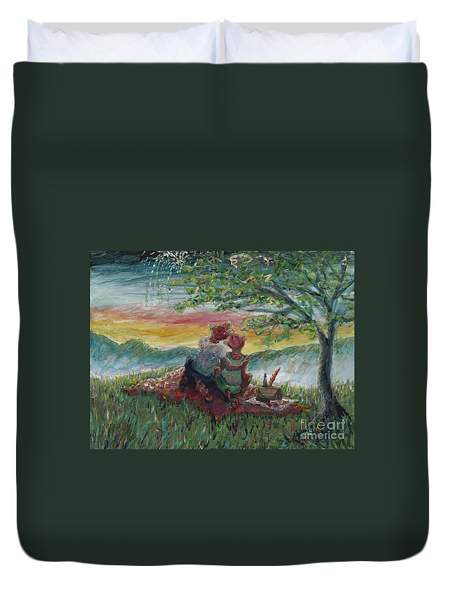 Landscape Duvet Cover featuring the painting Independance Day Pignic by Nadine Rippelmeyer