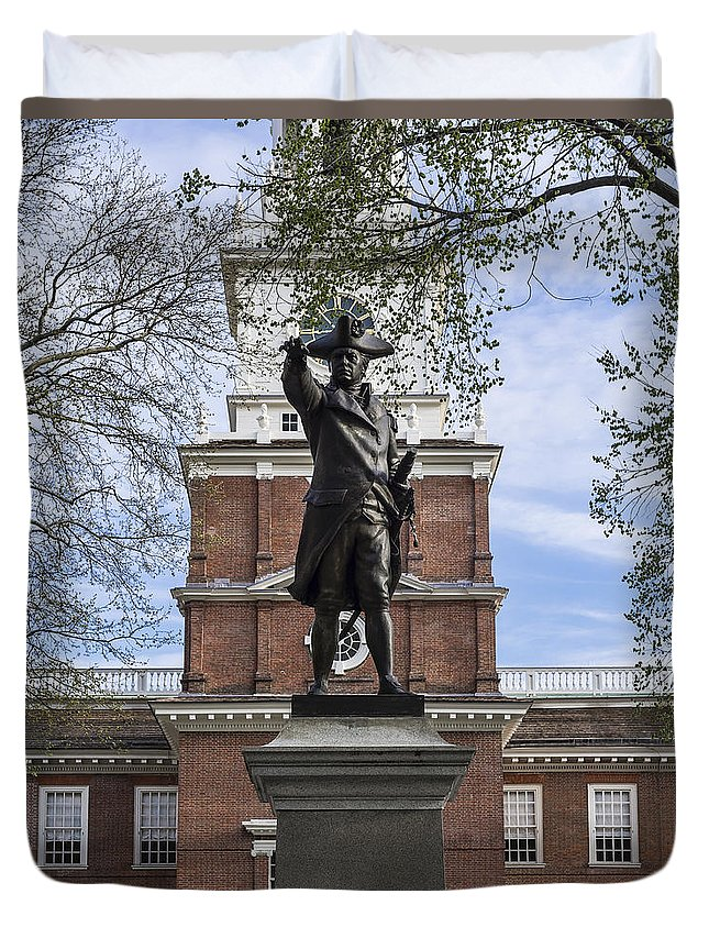 American Duvet Cover featuring the photograph Independence Hall And Commodore Barry by John Greim