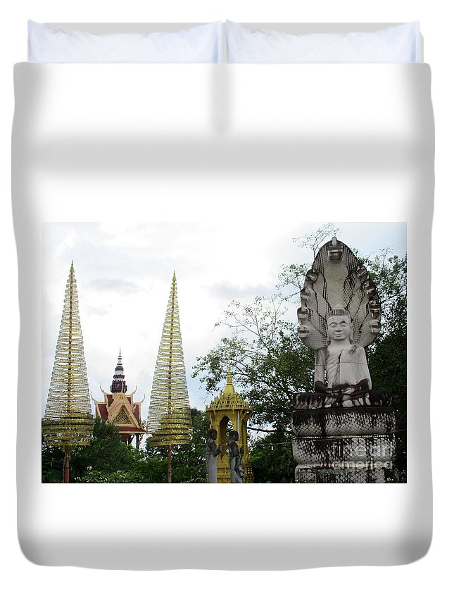 Cambodia Duvet Cover featuring the photograph Independence Park 12 by Randall Weidner