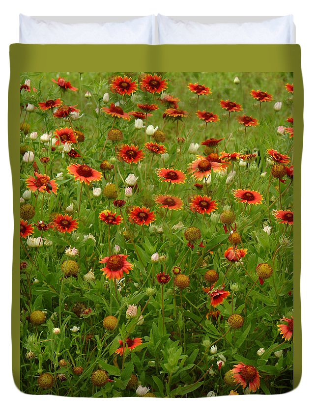 Duvet Cover featuring the photograph Indian Blankets by Ronnie Gilbert
