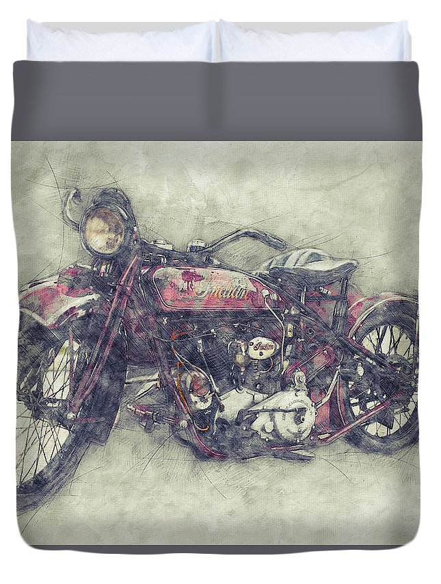 Indian Chief Duvet Cover featuring the mixed media Indian Chief 1 - 1922 - Vintage Motorcycle Poster - Automotive Art by Studio Grafiikka