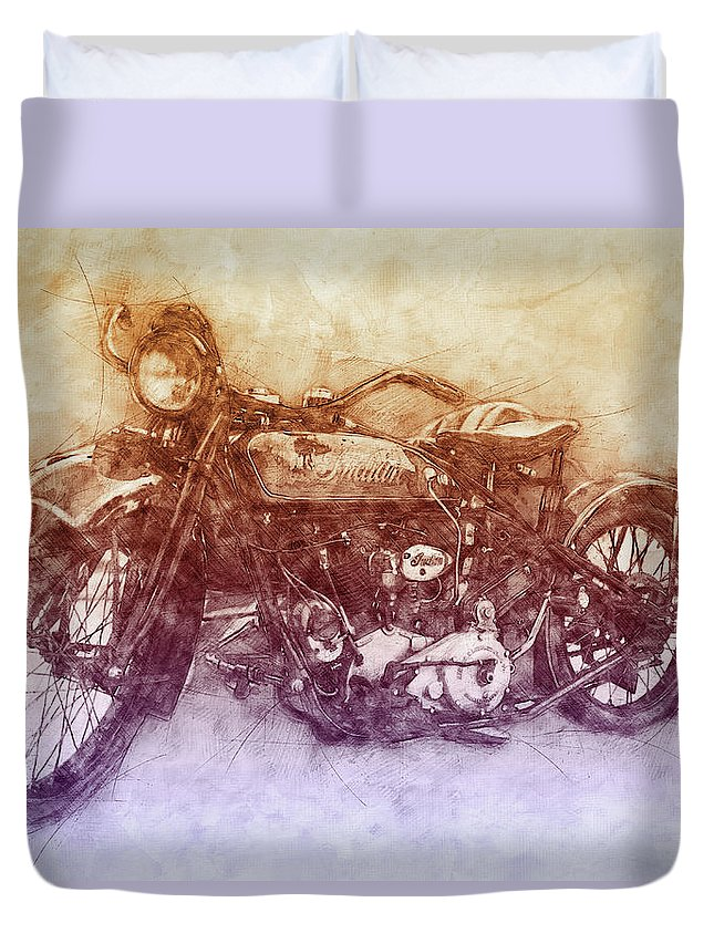 Indian Chief Duvet Cover featuring the mixed media Indian Chief 2 - 1922 - Vintage Motorcycle Poster - Automotive Art by Studio Grafiikka