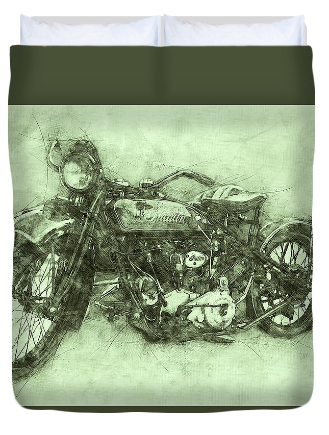 Indian Chief Duvet Cover featuring the mixed media Indian Chief 3 - 1922 - Vintage Motorcycle Poster - Automotive Art by Studio Grafiikka