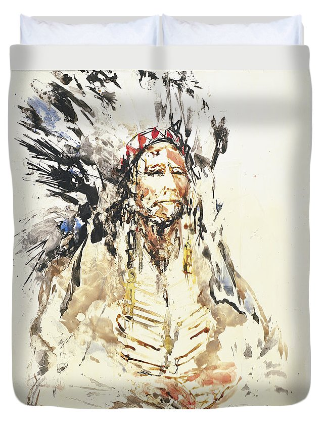 Native American Duvet Cover featuring the painting Indian Chief by Nicolay Paskevich