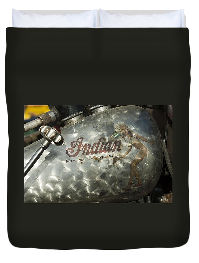 Indian Chopper Duvet Cover featuring the photograph Indian Chopper Gas Tank by Jill Reger
