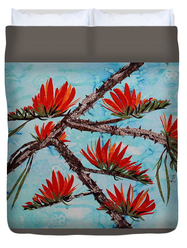 Landscape Duvet Cover featuring the mixed media Indian Coral Tree by Dattatreya Phadke