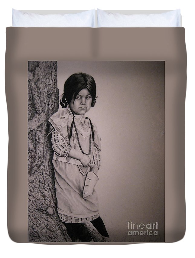 Native American Duvet Cover featuring the drawing Indian Girl by John Huntsman