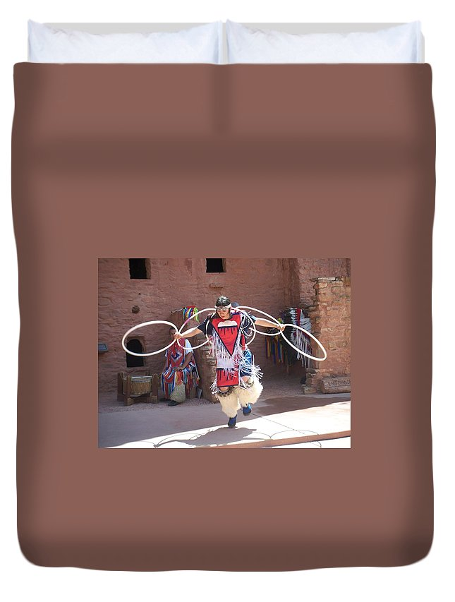 Indian Dancer Duvet Cover featuring the photograph Indian Hoop Dancer by Anita Burgermeister
