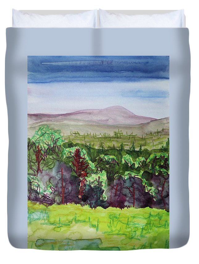 Indian Lake Overlook Duvet Cover featuring the painting Pete Gay Mountain, Indian Lake Overlook Panorama 1 by Bethany Lee