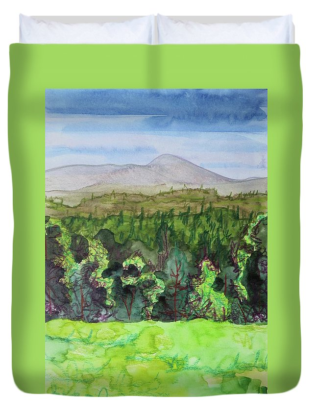 Bullhead Mountain Duvet Cover featuring the painting Bullhead Mountain, Indian Lake Overlook Panorama 3 by Bethany Lee