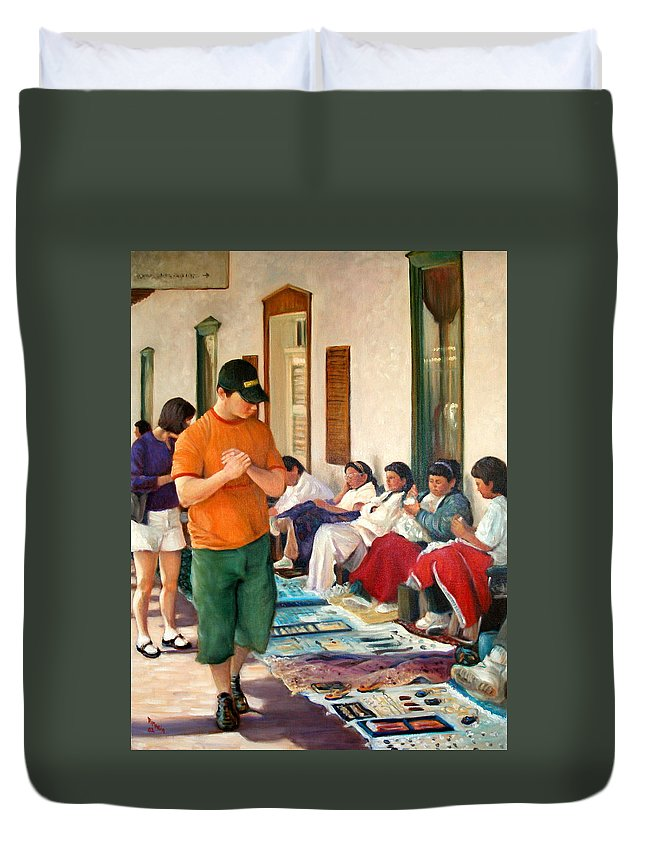 Realism Duvet Cover featuring the painting Indian Market by Donelli DiMaria