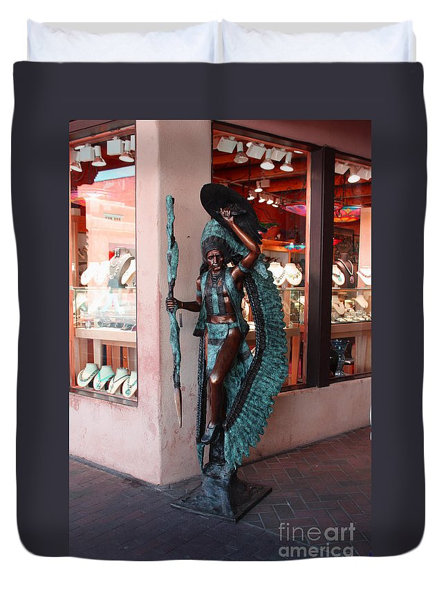 Native American Duvet Cover featuring the photograph Indian On The Square Sante Fe Nm by Tommy Anderson