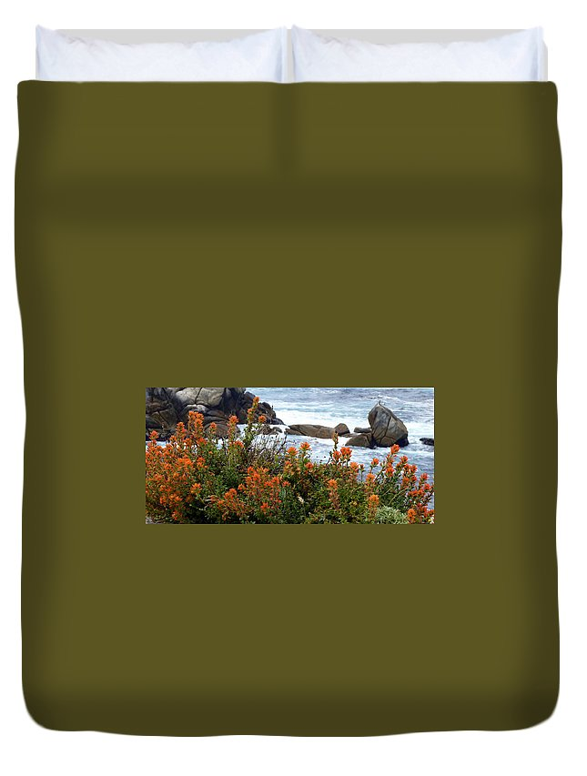 Indian Paintbrush Duvet Cover featuring the photograph Indian Paintbrush At Point Lobos by Carla Parris