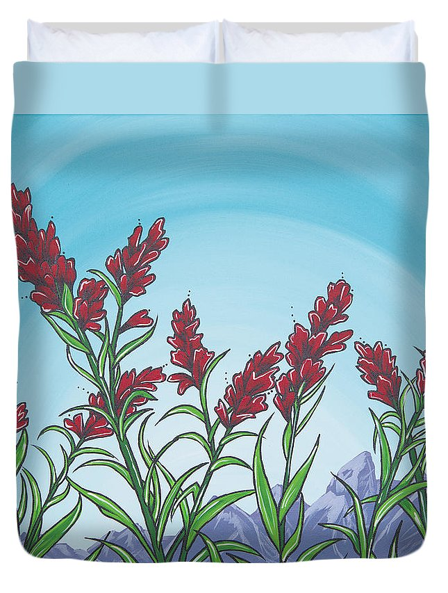 Erin Smith Duvet Cover featuring the painting Indian Paintbrush by Erin Ashlee Smith