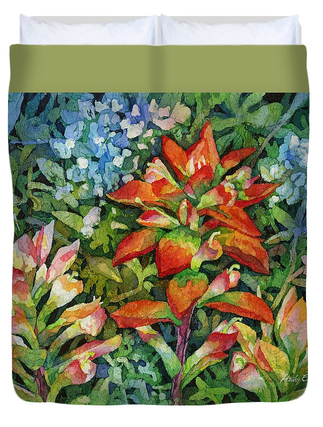 Wild Flower Duvet Cover featuring the painting Indian Paintbrush by Hailey E Herrera