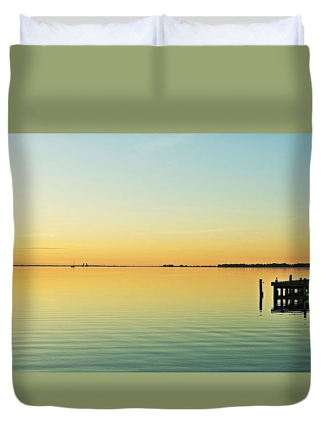 Looking Se From The Sea Wall Across The Dock. Duvet Cover featuring the photograph Indian River Lagoon by Jeryl Moore