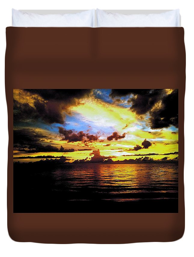 Landscape Duvet Cover featuring the photograph Indian Rocks Sunset by Patrick Dier