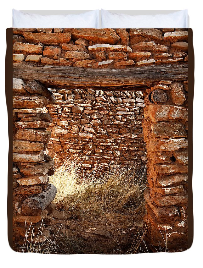 New Mexico Duvet Cover featuring the photograph Indian Ruins Doorway by Matt Suess