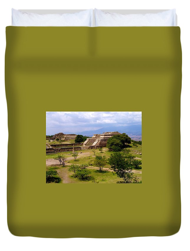 Monte Alban Duvet Cover featuring the photograph Indian Ruins by Michael Peychich