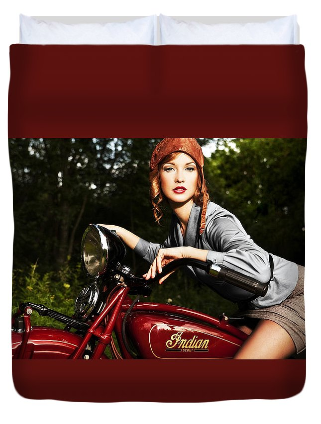Indian Duvet Cover featuring the photograph Indian Scout by Matt Haig