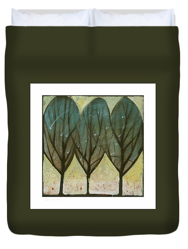 Trees Duvet Cover featuring the painting Indian Summer Snow by Tim Nyberg