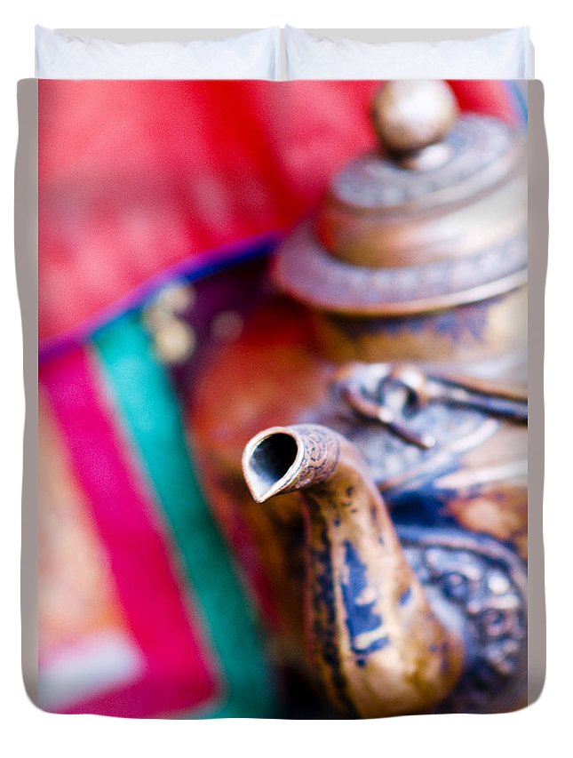 Ancient Duvet Cover featuring the photograph Indian Tea Kettle by Ray Laskowitz - Printscapes