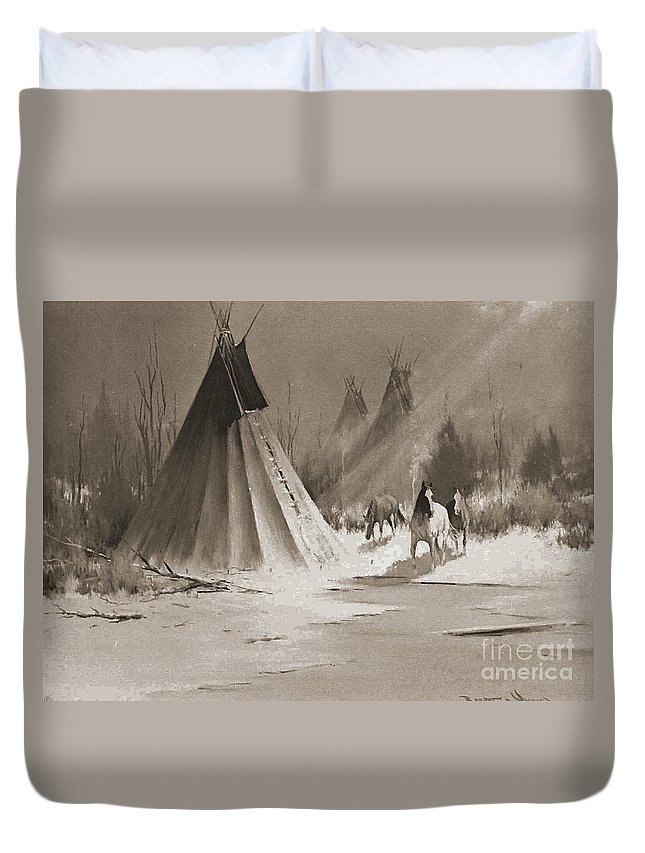 American Duvet Cover featuring the photograph Indian Tee Pee by Gary Wonning