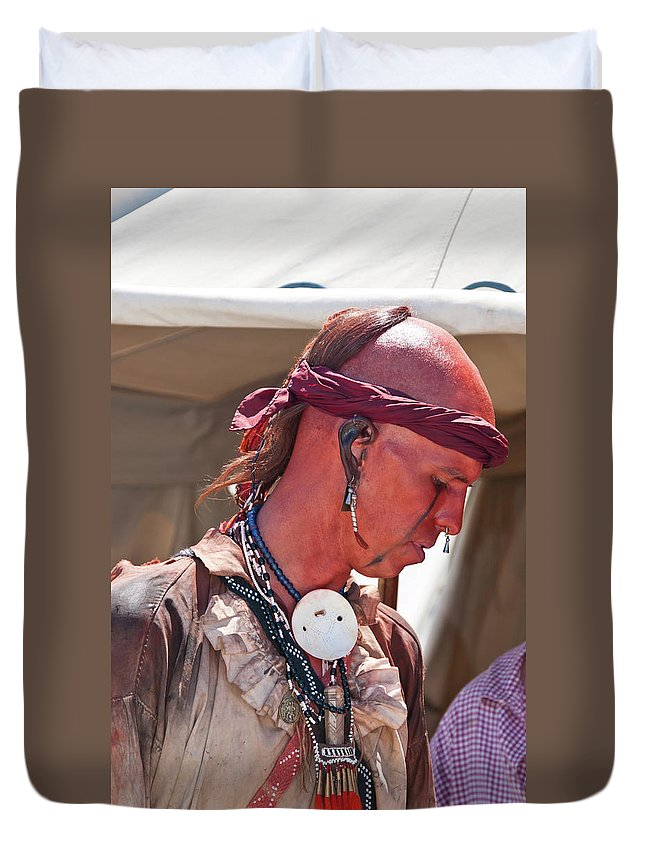 French & Indian War Re-enactor Duvet Cover featuring the photograph Indian Viii 6740 by Guy Whiteley