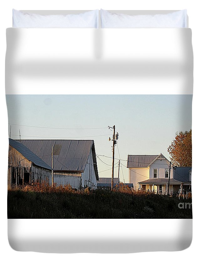 Indiana Duvet Cover featuring the photograph Indiana Farmhouse by Scott D Van Osdol