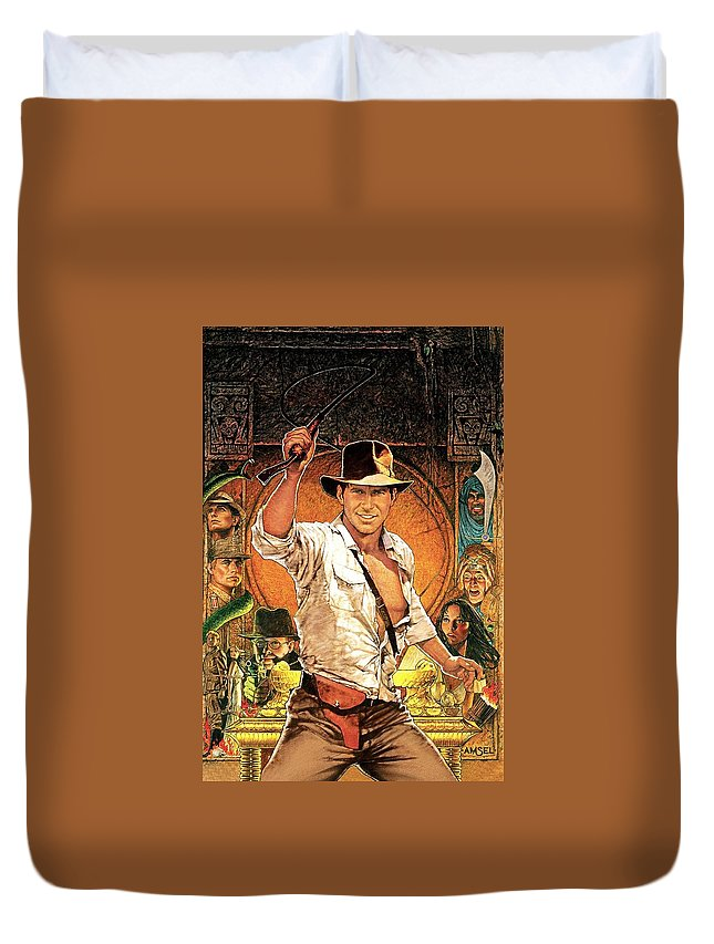 Indiana Jones Raiders Of The Lost Ark 1981 Duvet Cover featuring the digital art Indiana Jones Raiders Of The Lost Ark 1981 by Geek N Rock
