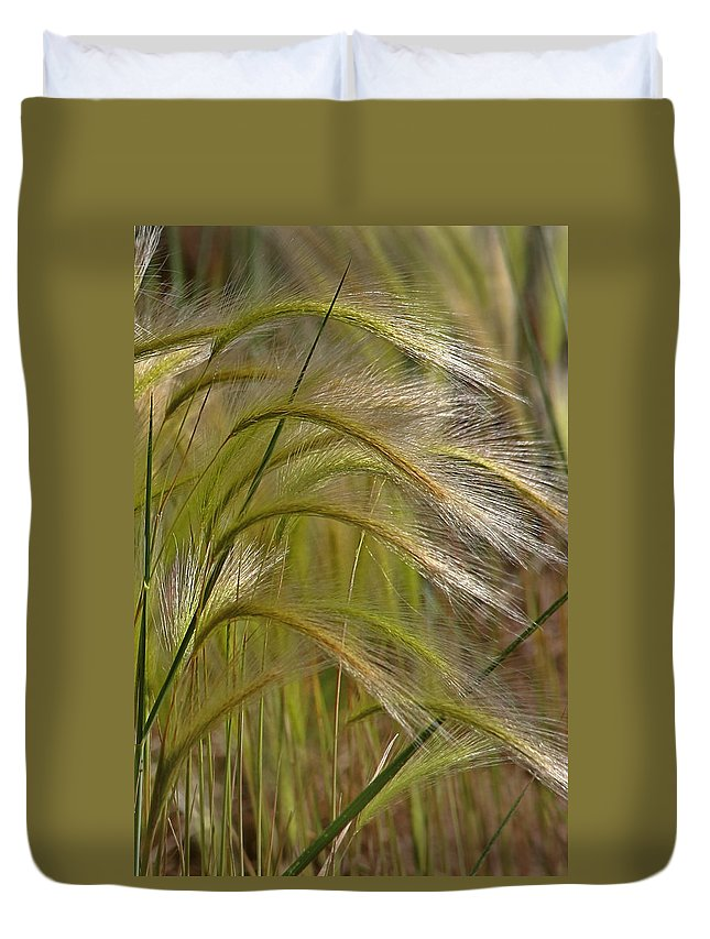 Grass Duvet Cover featuring the photograph Indiangrass Swaying Softly With The Wind by Christine Till