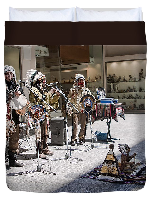 Indians Duvet Cover featuring the photograph Indians In Greece by Madeline Ellis