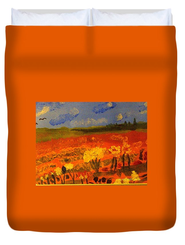 Landscape Duvet Cover featuring the painting Indians Lands by Ray Martin