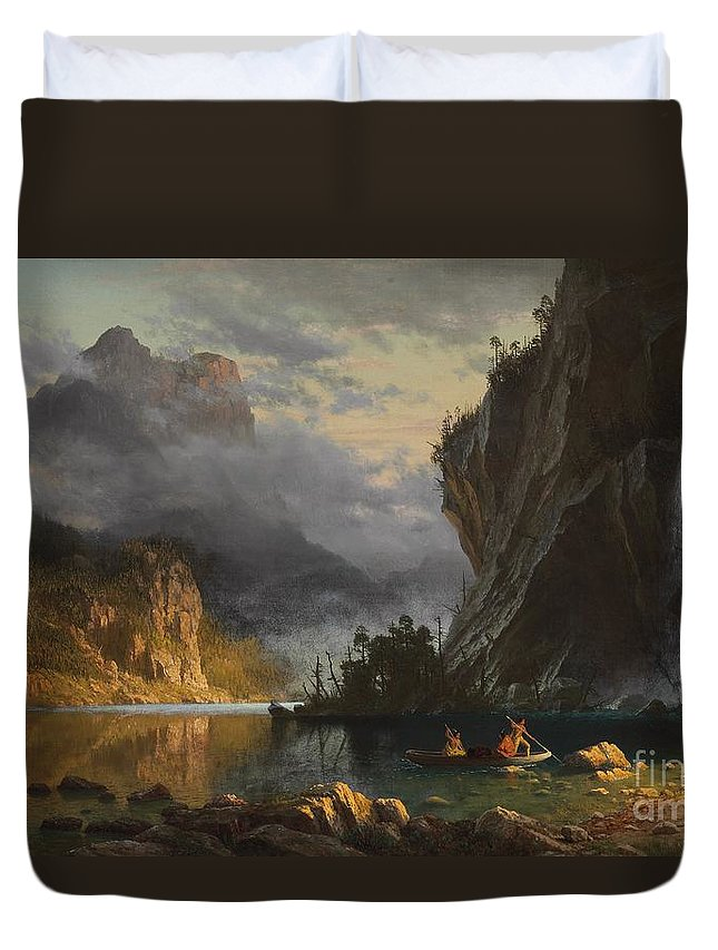 Landscape; Romantic; Romanticist; America; North America; American; North American;landscape; Rural; Countryside; Wilderness; Scenic; Picturesque; Atmospheric; Indians; Native American; Native Americans; American Indian; American Indians; Lake; River; Dramatic; Clouds; Mountains; Mountainous; Western; Rugged; Cliffs; Beach; Boat; Fishing; Spear; Spears; Waterfall Duvet Cover featuring the painting Indians Spear Fishing by Albert Bierstadt