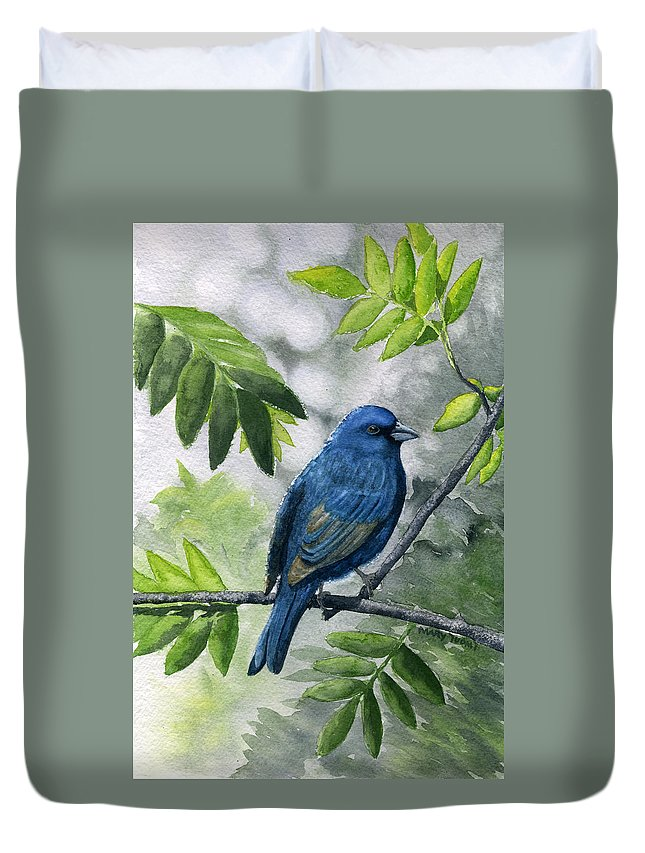 Blue Duvet Cover featuring the painting Indigo Bunting by Mary Tuomi