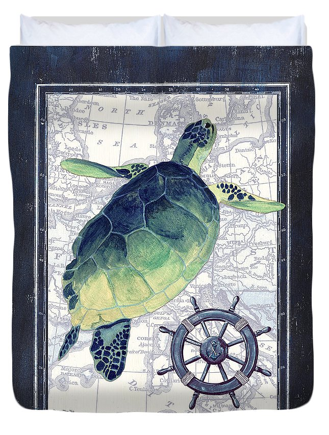 Turtle Duvet Cover featuring the painting Indigo Maritime 1 by Debbie DeWitt