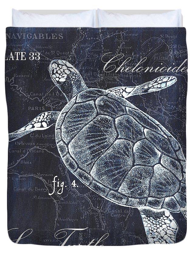 Turtle Duvet Cover featuring the painting Indigo Verde Mar 2 by Debbie DeWitt