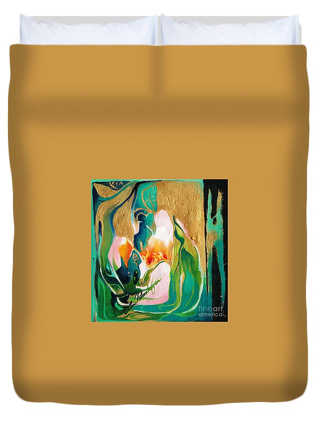Lin Petershagen Duvet Cover featuring the painting Indigold by Lin Petershagen