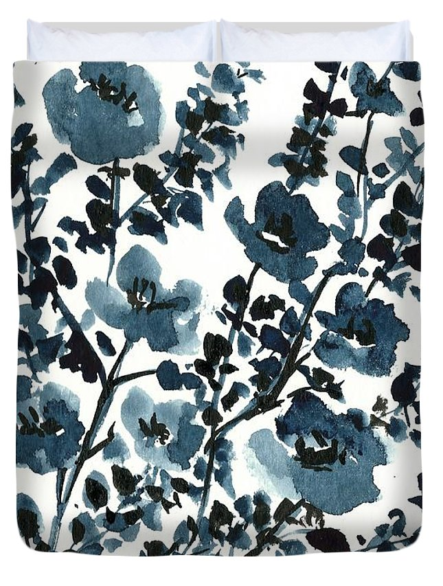 Silhouette Flowers Duvet Cover featuring the painting Indigo's Shadow by Garima Srivastava