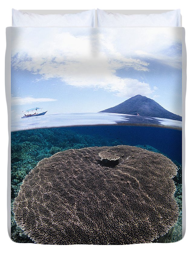 Above Duvet Cover featuring the photograph Indonesia, Coral Reef by Dave Fleetham - Printscapes