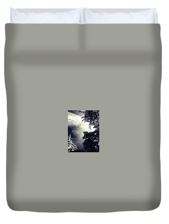 Photograph Black Dark Gothic Haunted Sky Horror Duvet Cover featuring the photograph Indonesia Sky Line by Christina -