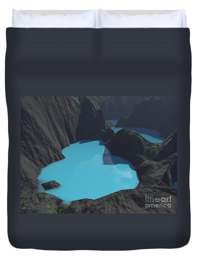 Basalt Duvet Cover featuring the digital art Indonesian Crater Lakes by Gaspar Avila