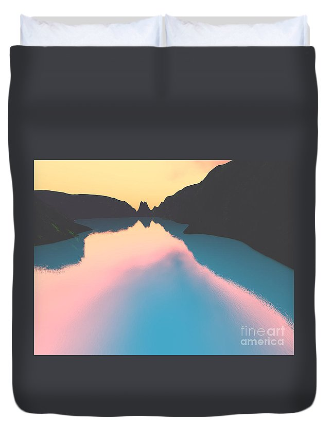 Crater Duvet Cover featuring the digital art Indonesian Crater Lakes II by Gaspar Avila