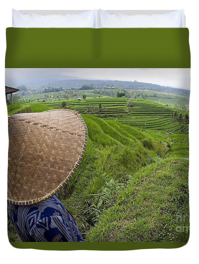 Agriculture Duvet Cover featuring the photograph Indonesian Rice Farmer by Dave Fleetham - Printscapes