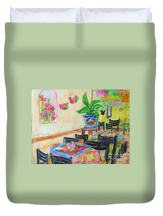 Watercolor Duvet Cover featuring the painting Indoor Cafe - Gifted by Judith Espinoza