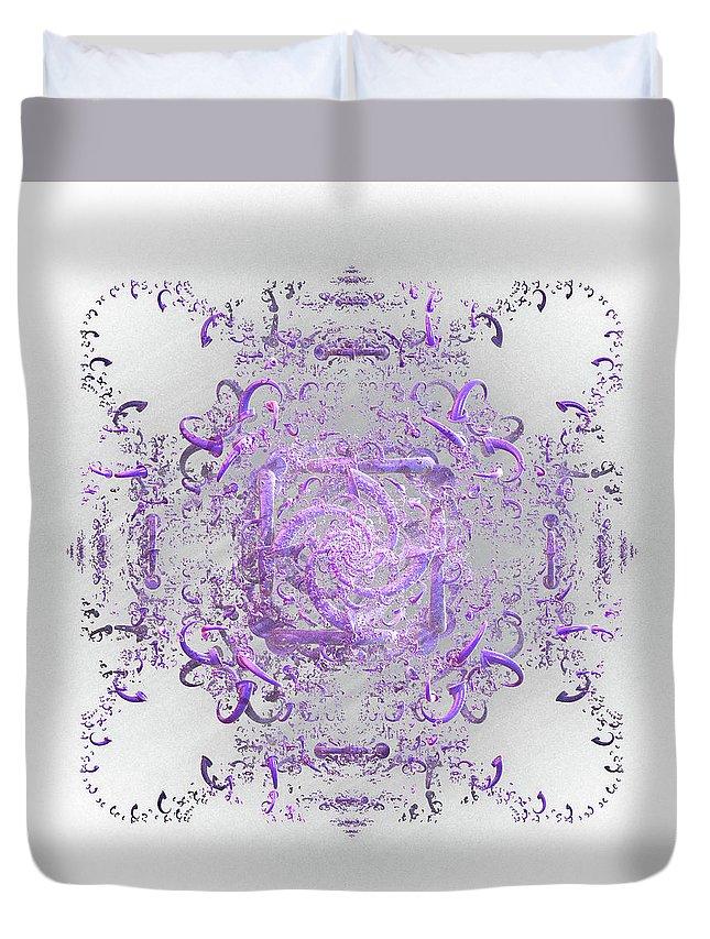 Lace Duvet Cover featuring the digital art Indulgent Purple Lace by Rosalie Scanlon
