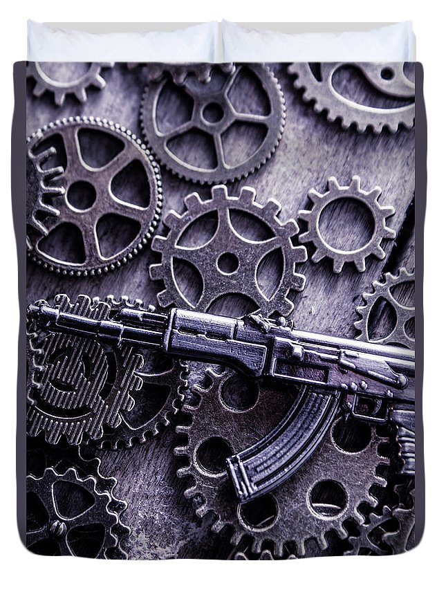 Tactical Duvet Cover featuring the photograph Industrial Firearms by Jorgo Photography - Wall Art Gallery