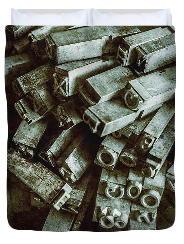 Old Duvet Cover featuring the photograph Industrial Letterpress Typeset by Jorgo Photography - Wall Art Gallery