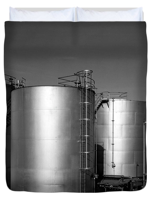 Industrial Duvet Cover featuring the photograph Industrial Storage Tanks by Lee Santa